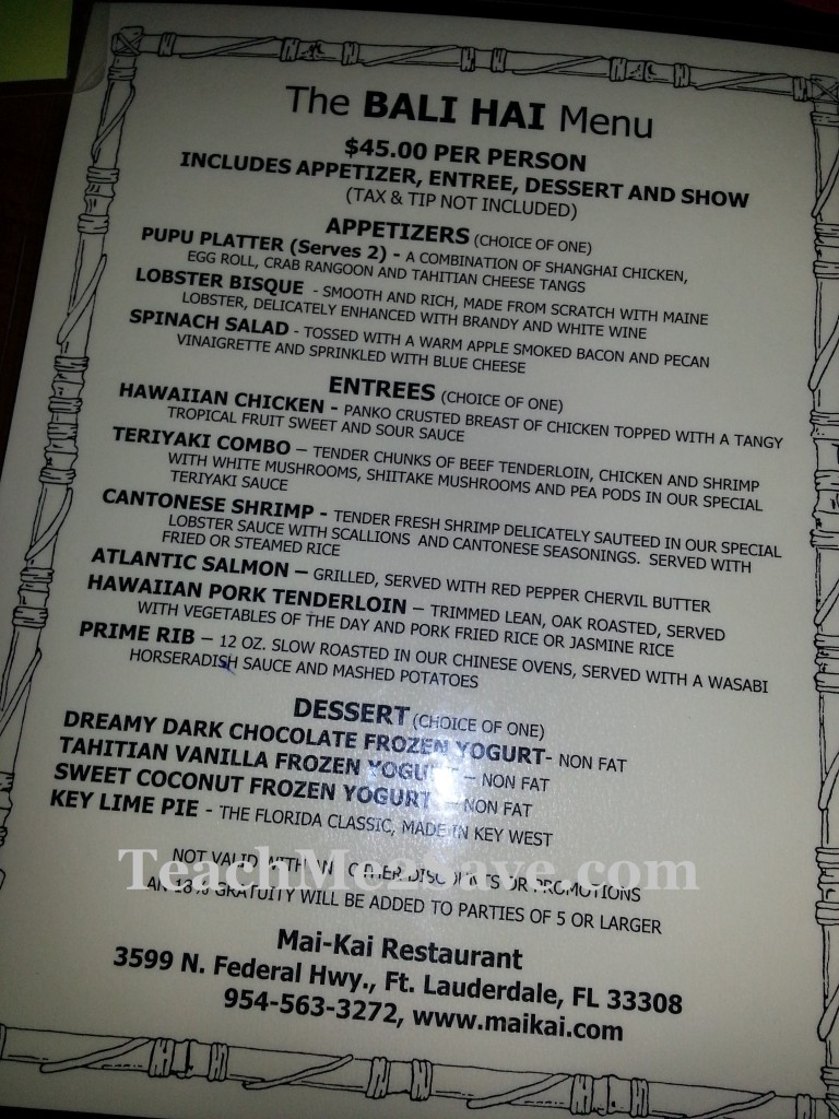 Mai-Kai Restaurant and Polynesian Show Menu