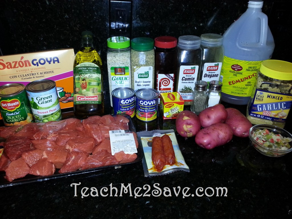 Carne con papa ingredients