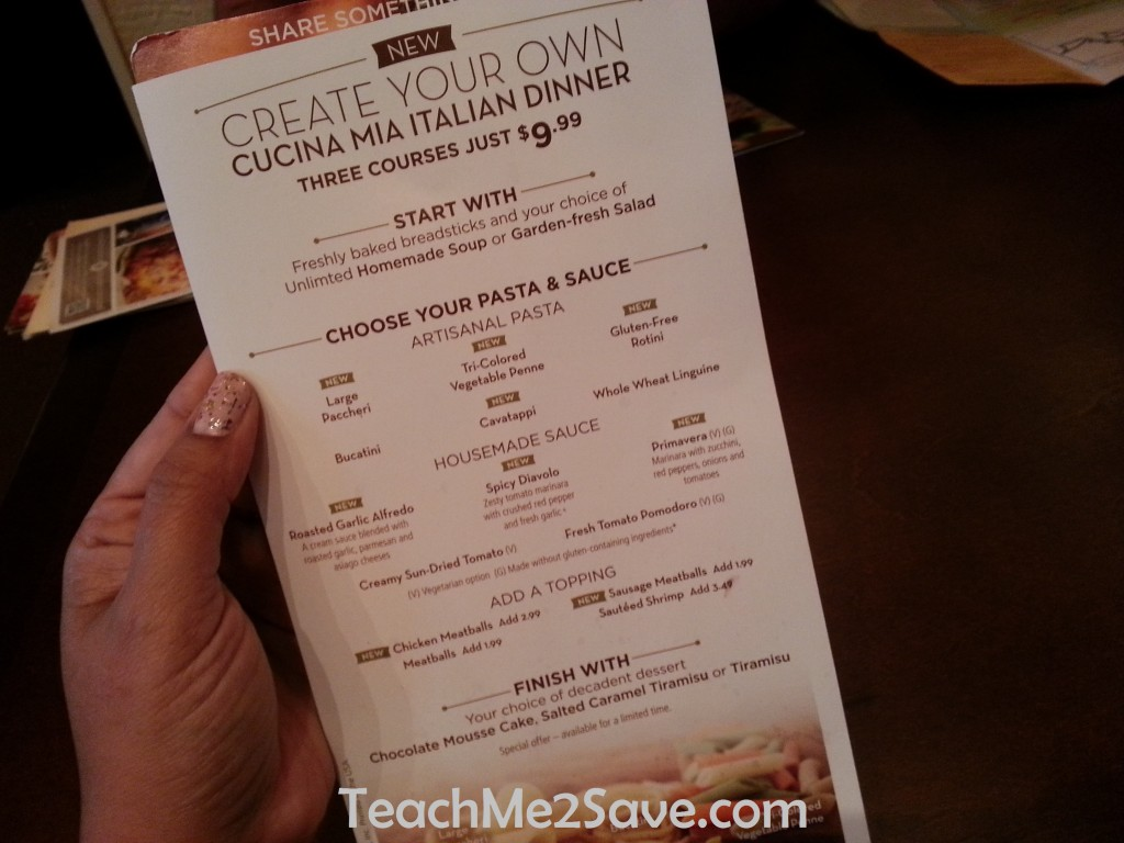 Menu For Olive Garden: The Olive Garden New Cucina Mia Menu Is Yummy And Only $9