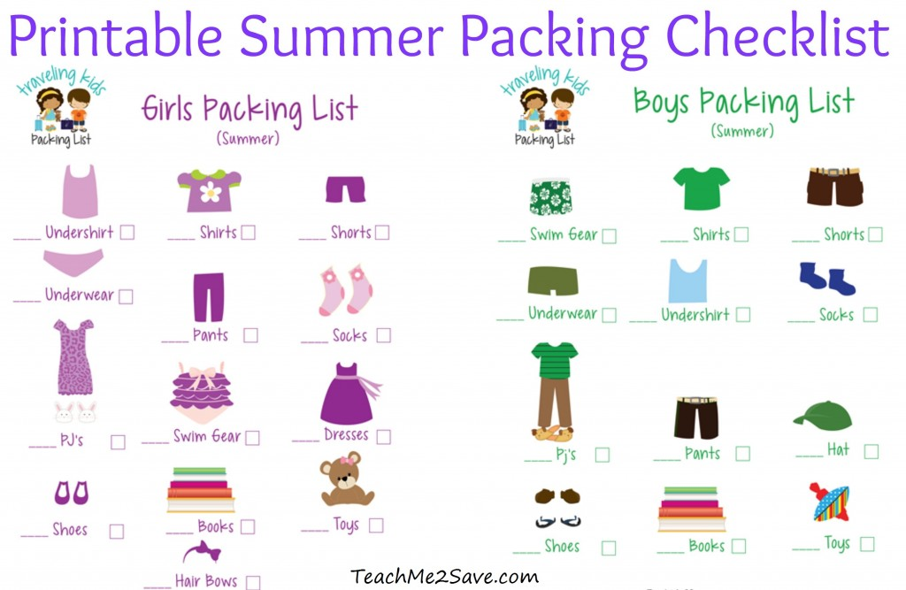 Printable Summer Packing Checklist