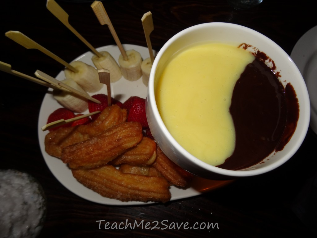 Dos Caminos Restaurant in Ft. Lauderdale - dark and white chocolate fondue