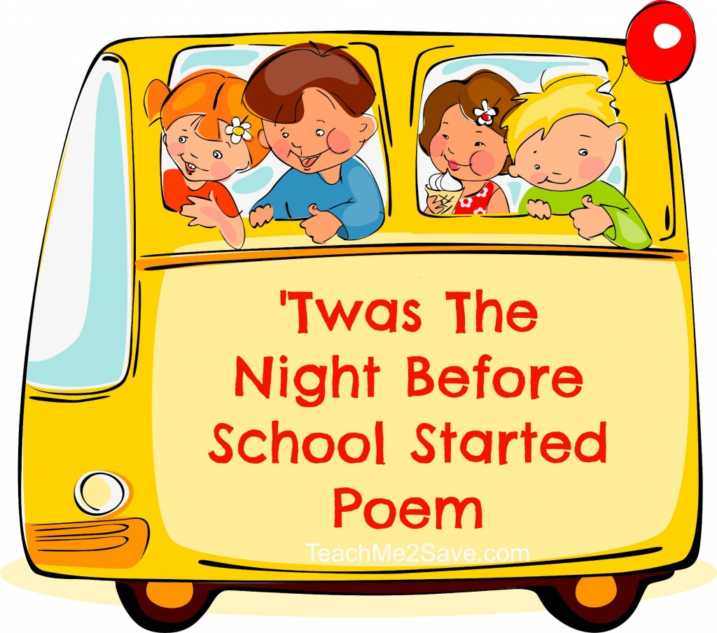 Twas the night before school started poem funtastic life