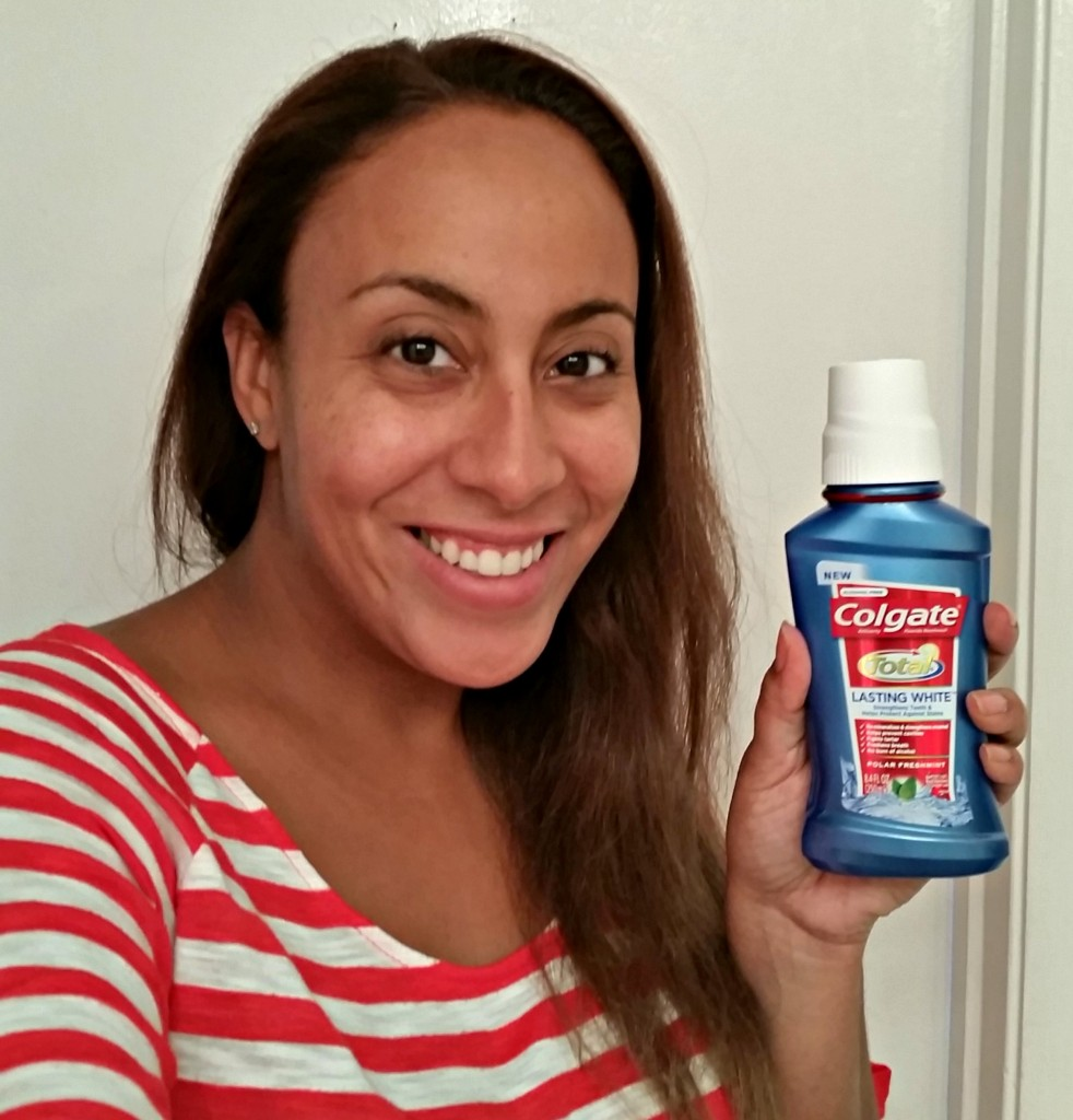 Me with Colgate Total Lasting White Mouthwash