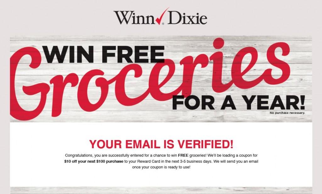 Winn Dixie Email Verification