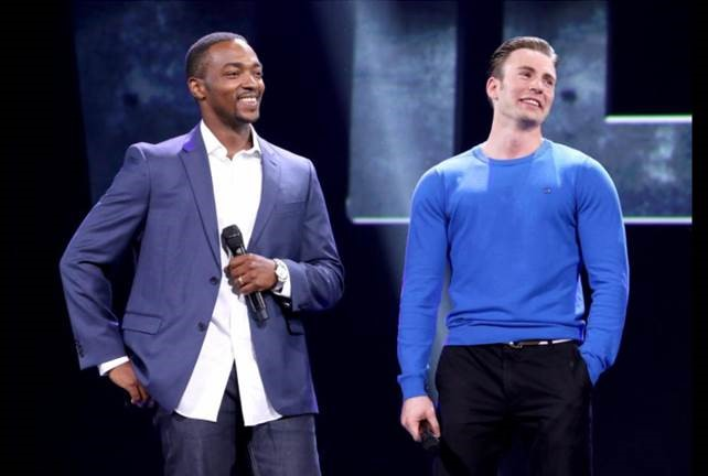 Chris Evans and Anthony Mackie of Captain America