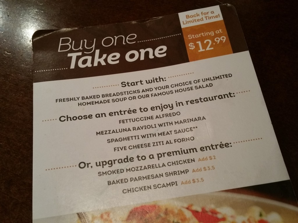 Olive Garden S Buy One Take One Offer Returns For Back To School