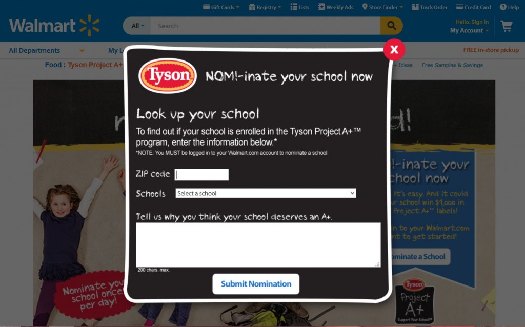 Tyson Project A+ Support Your School Contest  Submission