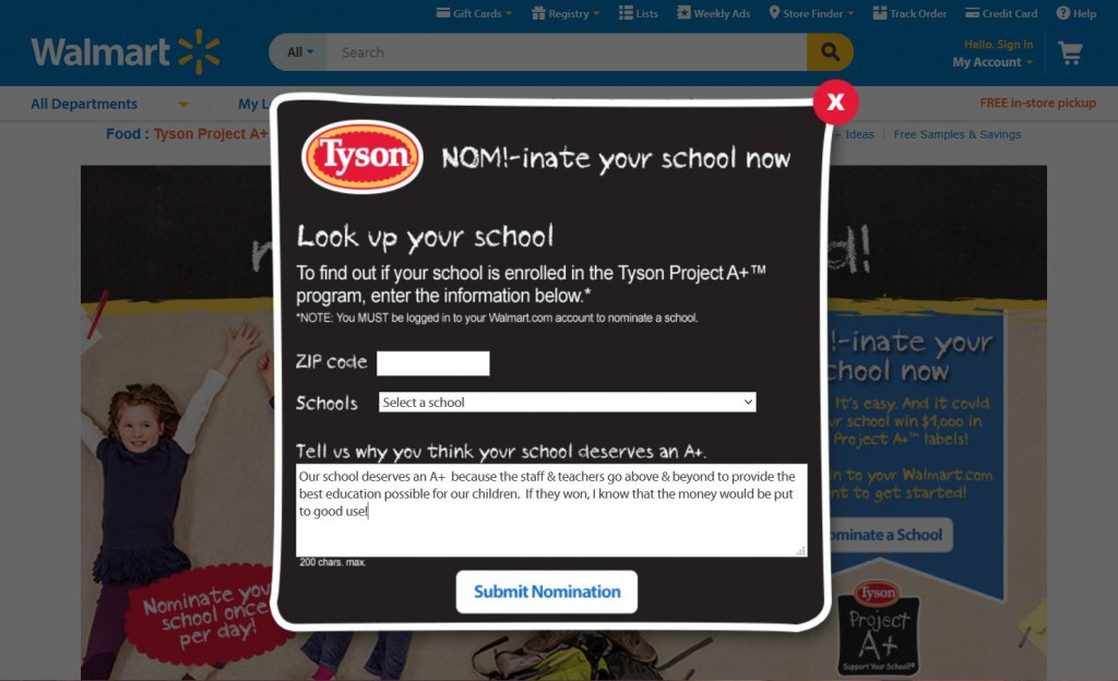 Tyson Project A+ Support Your School Contest  Submission - Nomination