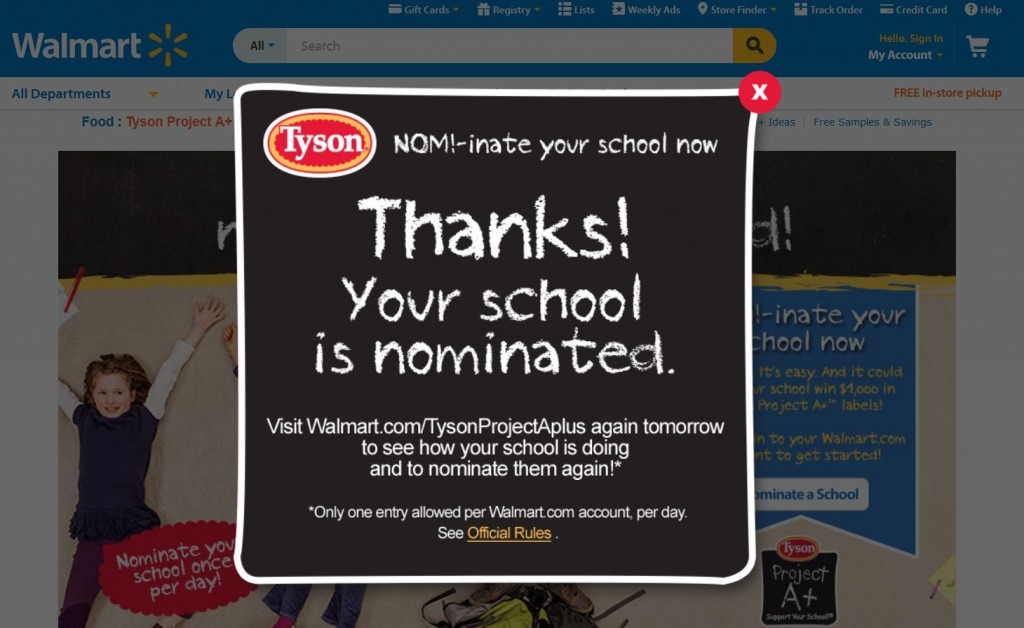 Tyson Project A+ Support Your School Contest  Submitted Nomination