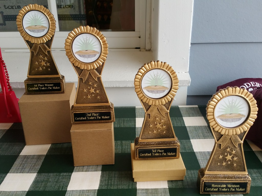 Yoder's Restaurant Pie Making Contest Trophies