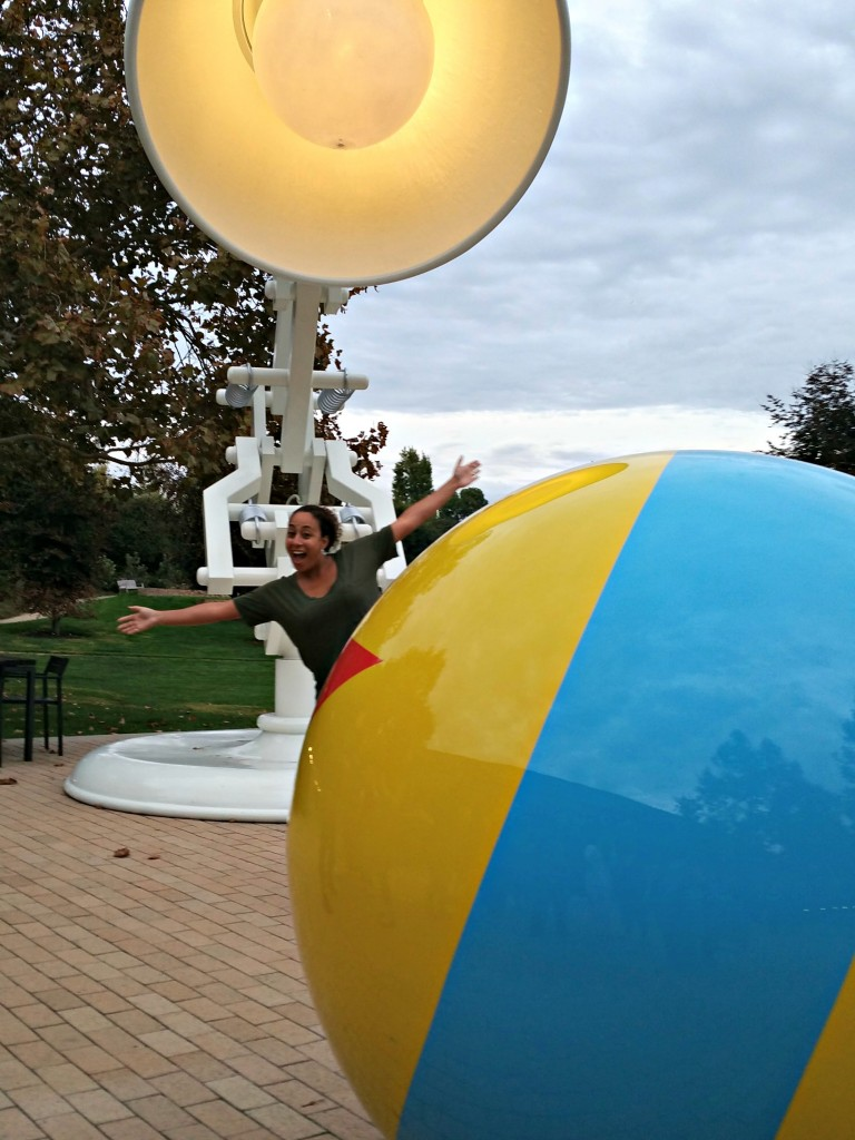 Leanette Fernandez at Pixar Animation Studios in front of the Luxo Jr. and ball - REV