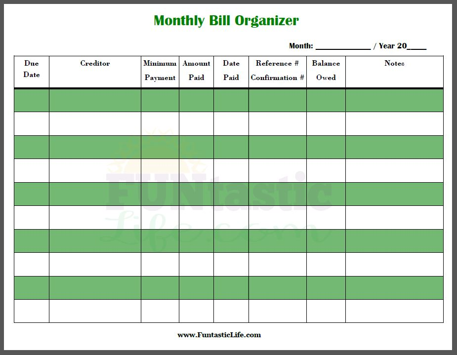 Printables Bill Organizer Worksheet free printable monthly bill organizer funtastic life organizer
