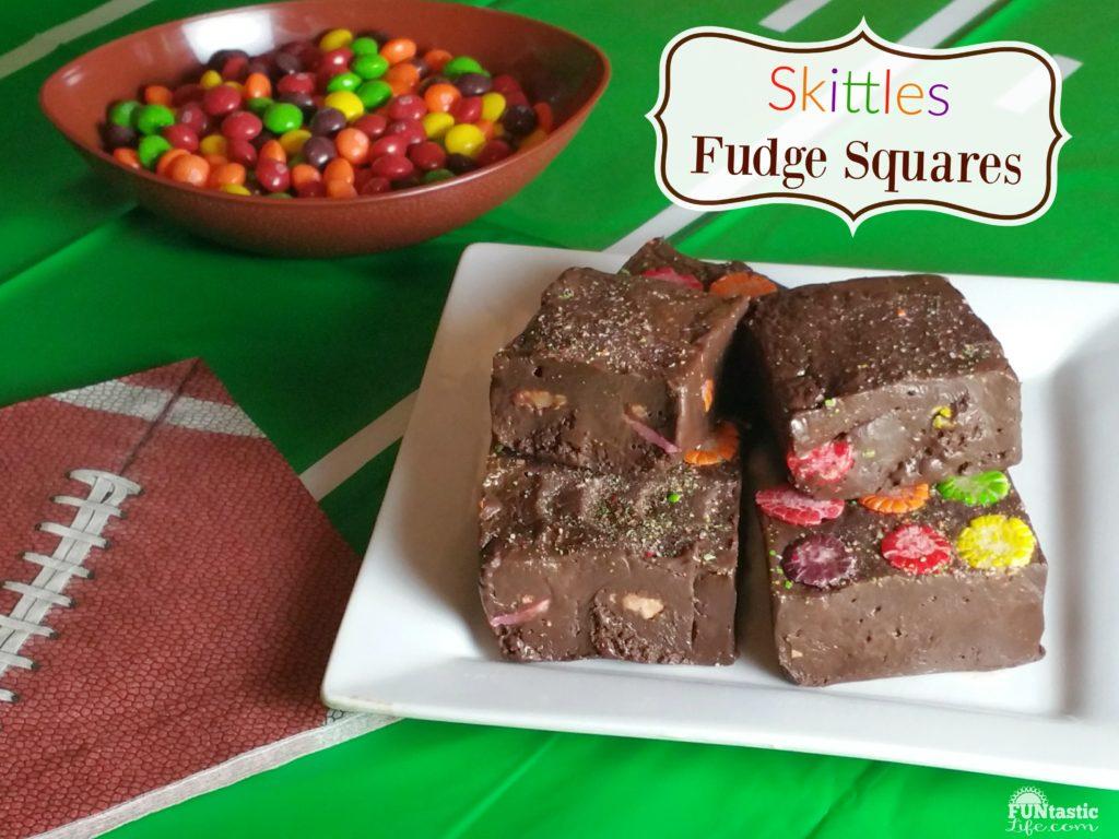 Skittles Fudge Squares