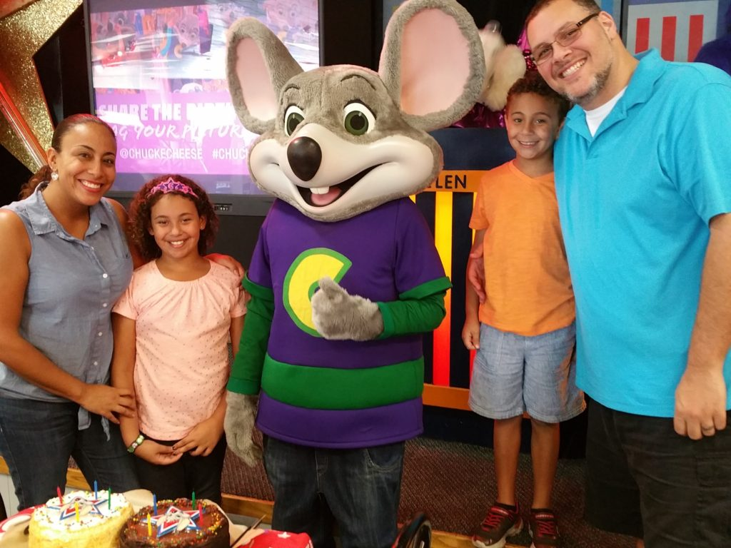 Fernandez Family with Chuck E. Cheese