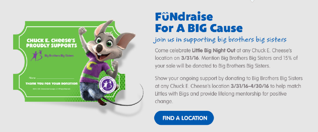 Chuck E. Cheese Big Brothers Big Sisters Charity Event