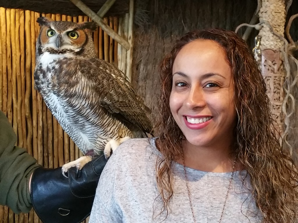 Leanette Fernandez with a great horned owl at Lion Country Safari