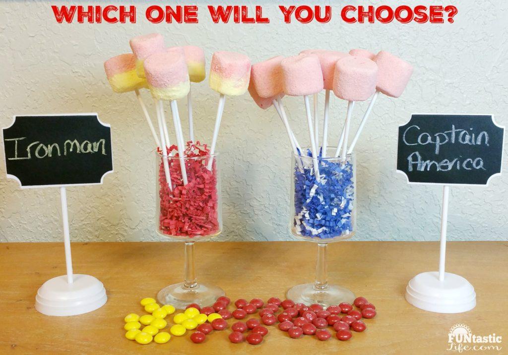 Captain America Civil War inspired Skittles Marshmallow Pops
