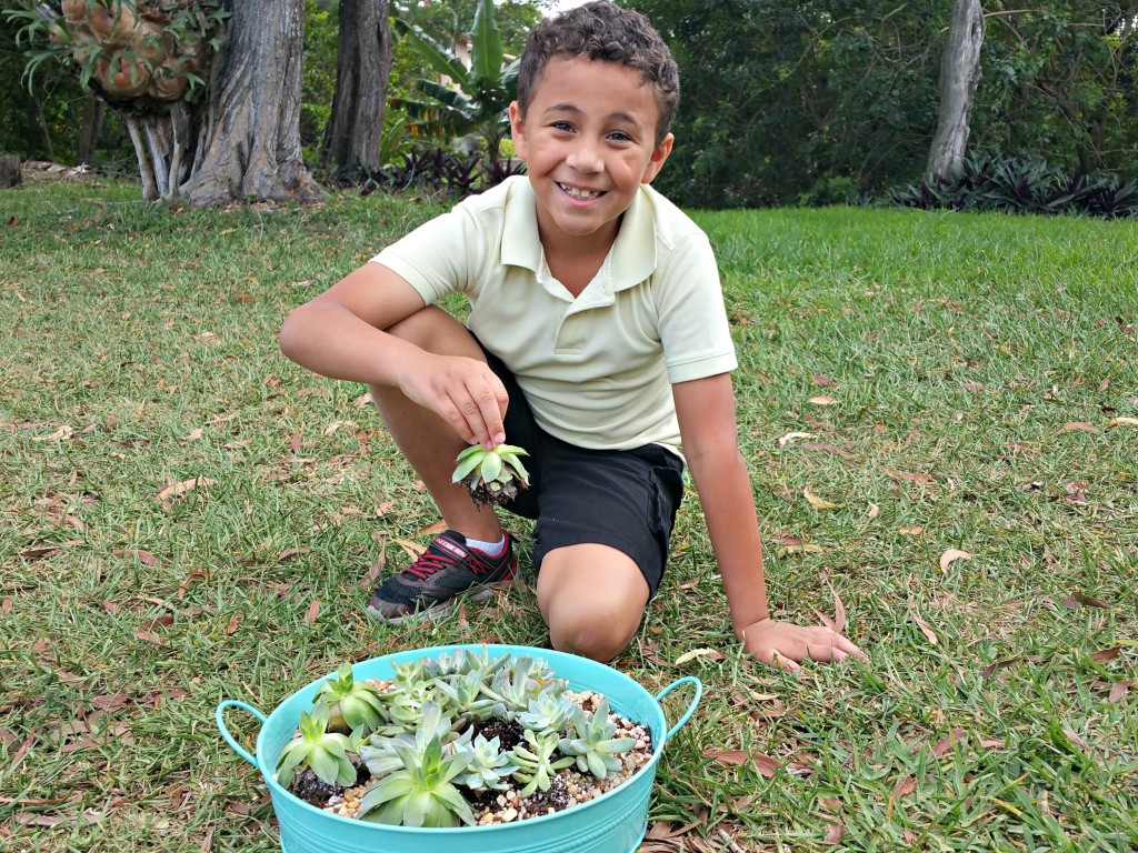 My son planting for earth day