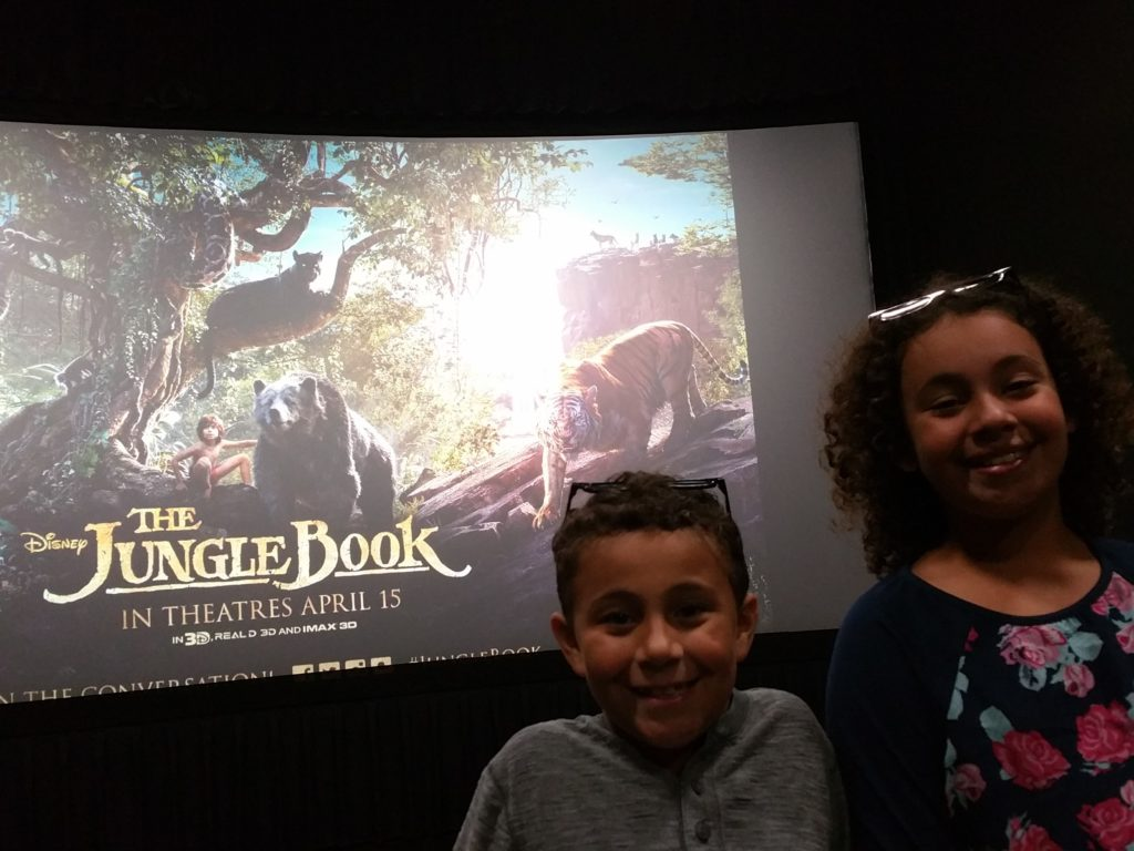The Kiddos watching The Jungle Book
