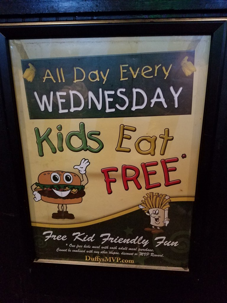 Duffy's Sports Grill Kids Eat Free Sign