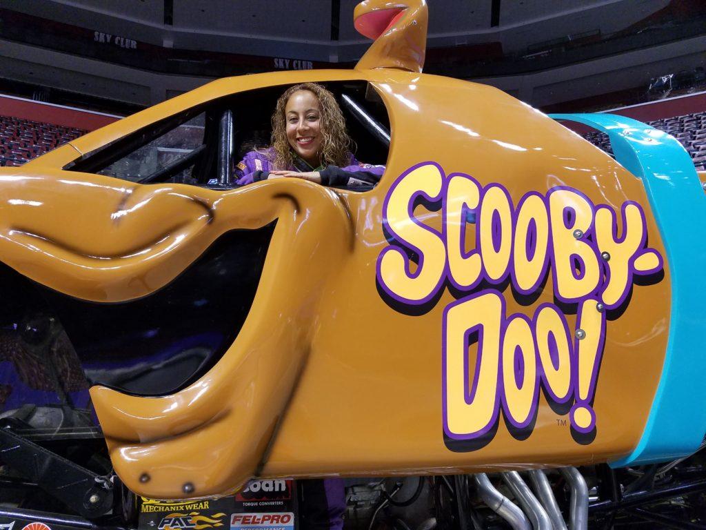 Leanette Fernandez inside the Scooby-Doo Monster Truck