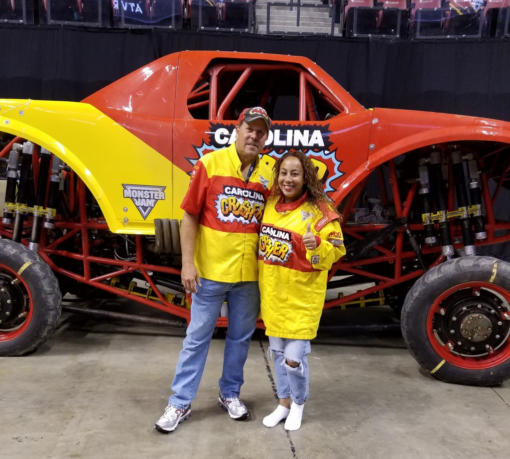 Leanette Fernandez with Carolina Crusher Driver Gary Porter