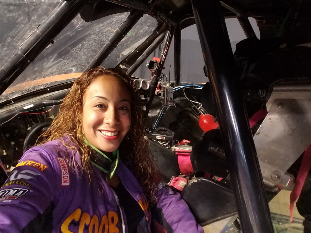 Leanette selfie inside the Scooby-Doo Monster Truck