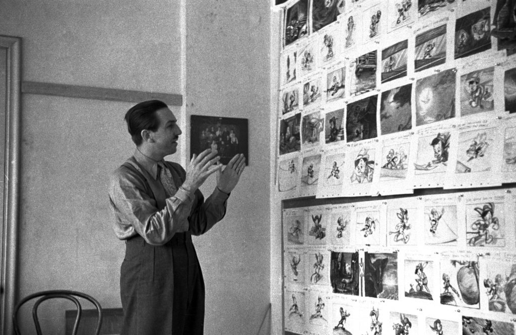 Walt Disney working on Pinocchio
