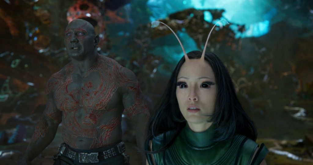 Guardians Of The Galaxy Vol. 2 L to R: Drax (Dave Bautista) and Mantis (Pom Klementieff) Ph: Film Frame ©Marvel Studios 2017