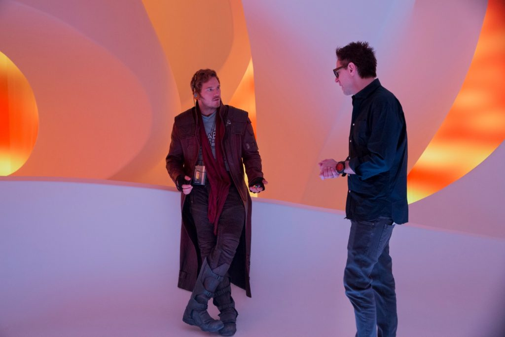 Marvel's Guardians Of The Galaxy Vol. 2 L to R: Chris Pratt (Star-Lord) and Director James Gunn on set. Ph: Chuck Zlotnick © 2016 MVLFFLLC. TM & © 2016 Marvel. All Rights Reserved.