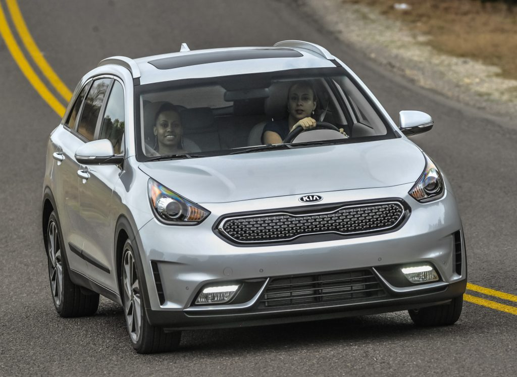 Leanette driving the Kia Niro