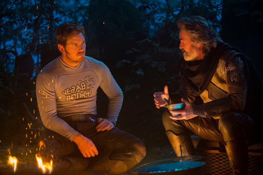 Kurt Russell and Chris Pratt in Guardians of the Galaxy Vol. 2