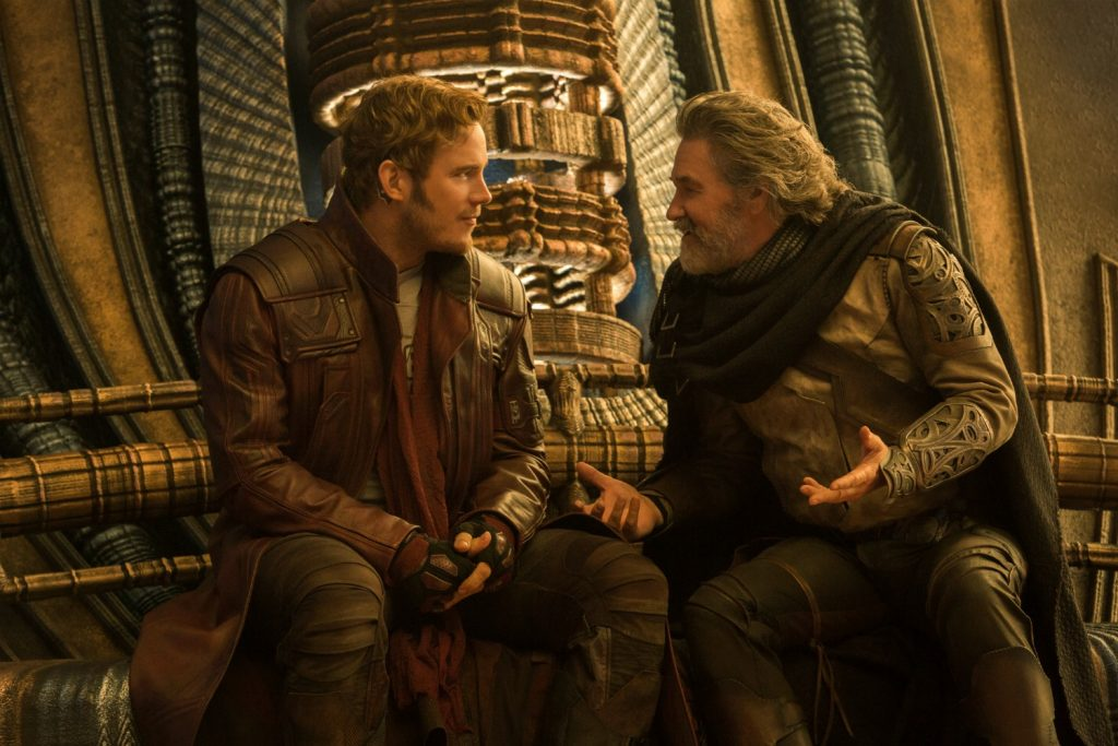 Guardians Of The Galaxy Vol. 2 L to R: Star-Lord/Peter Quill (Chris Pratt) and Ego (Kurt Russell) Ph: Chuck Zlotnick ©Marvel Studios 2017
