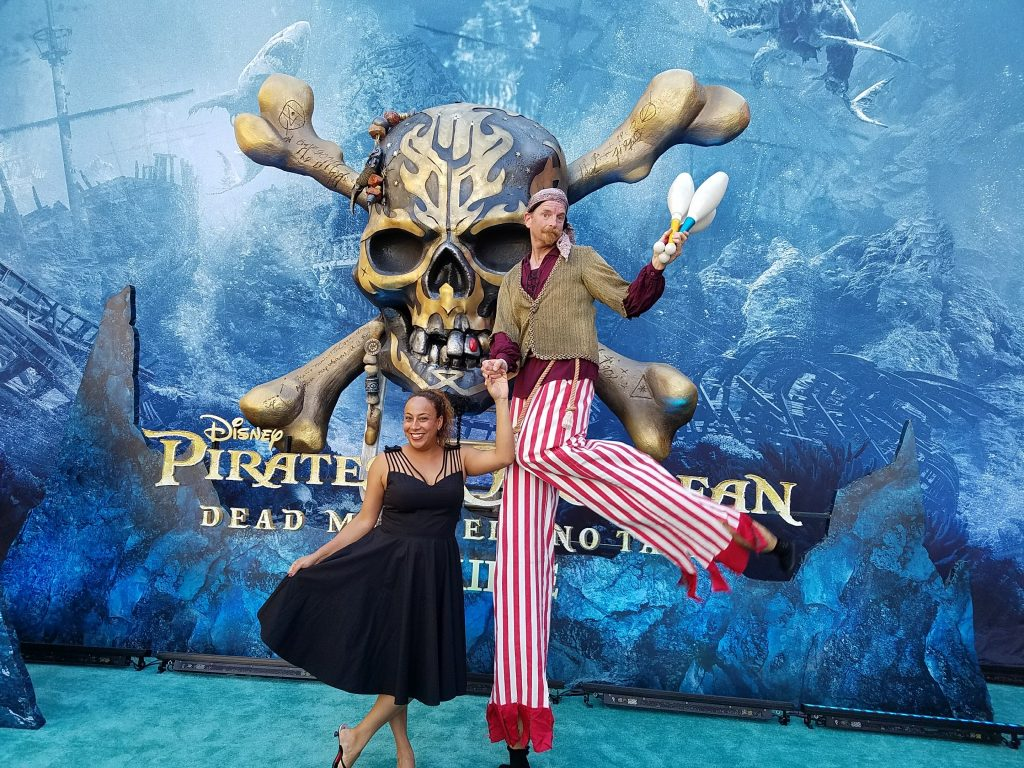 Clowning around at the Pirates of the Caribbean Premiere