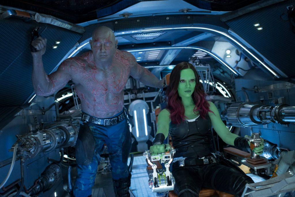 Guardians Of The Galaxy Vol. 2 Drax (Dave Bautista) and Gamora (Zoe Saldana) Ph: Chuck Zlotnick ©Marvel Studios 2017