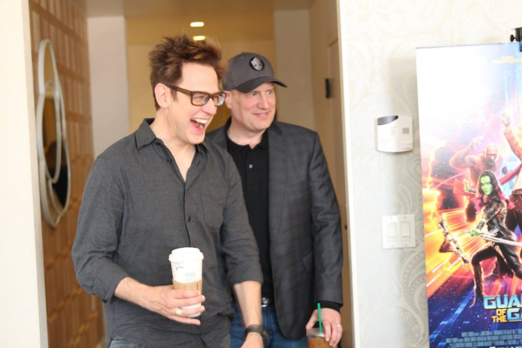 James Gunn & Kevin Feige walking into the Guardians of the Galaxy Vol 2 Interview