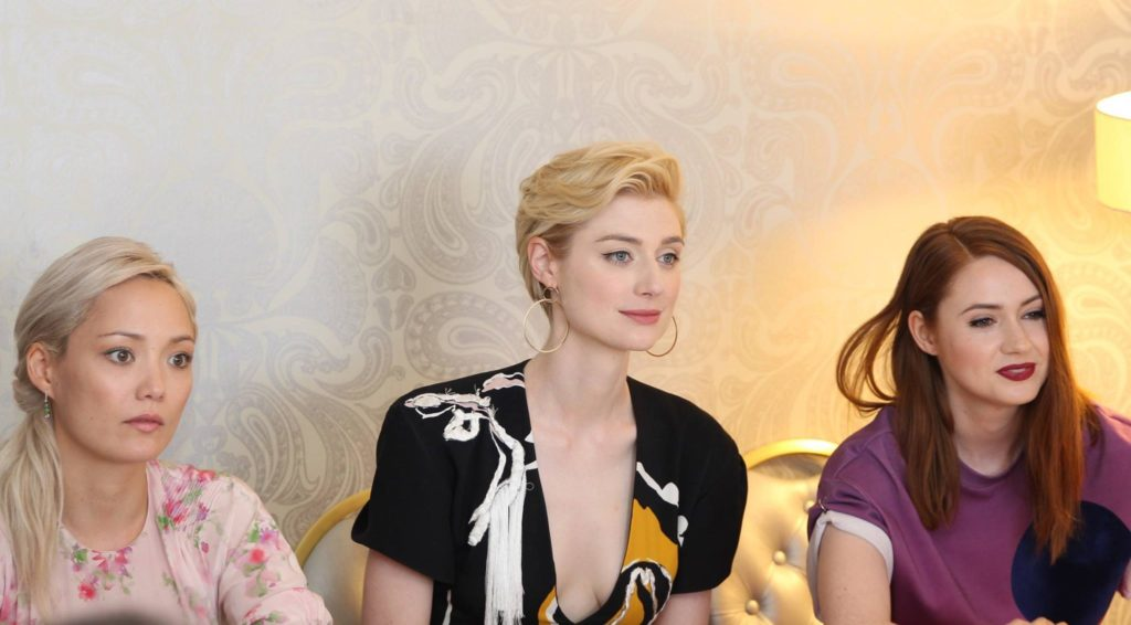 Karen Gillan, Pom Klementieff & Elizabeth Debicki during the Guardians of the Galaxy Vol 2 Interview