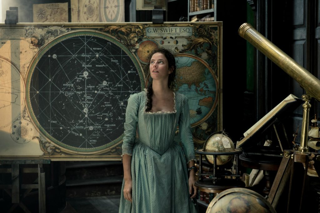 """""""PIRATES OF THE CARIBBEAN: DEAD MEN TELL NO TALES"""" The villainous Captain Salazar (Javier Bardem) pursues Jack Sparrow (Johnny Depp) as he searches for the trident used by Poseidon Pictured: Carina Smyth (Kaya Scodelario) Ph: Peter Mountain © Disney Enterprises, Inc. All Rights Reserved."""