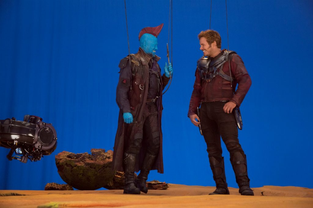 Guardians Of The Galaxy Vol. 2 L to R: Michael Rooker (Yondu) and Chris Pratt (Star-Lord) on set BTS Ph: Chuck Zlotnick ©Marvel Studios 2017