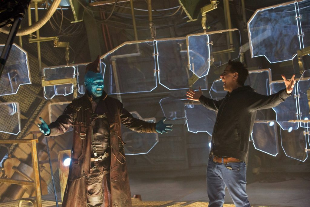 Guardians Of The Galaxy Vol. 2 L to R: Michael Rooker (Yondu) and Director James Gunn on set. Ph: Chuck Zlotnick ©Marvel Studios 2017