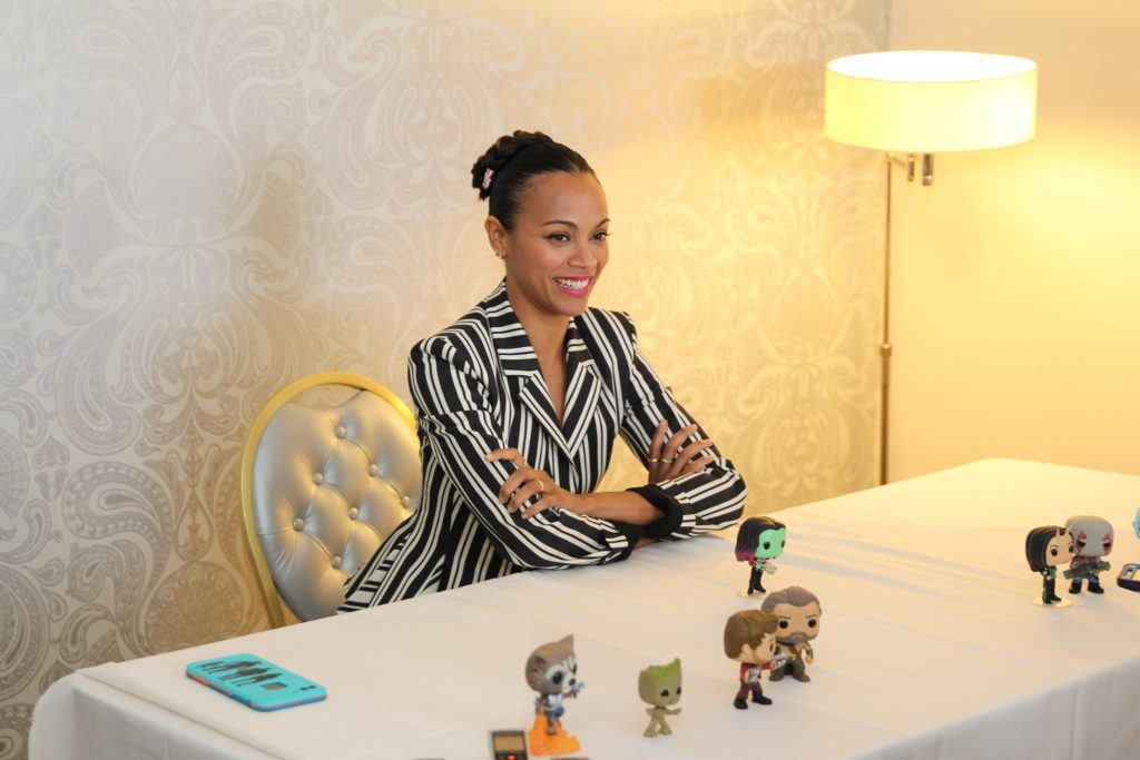 Zoe Saldana at the Guardians of the Galaxy Vol 2 Interview