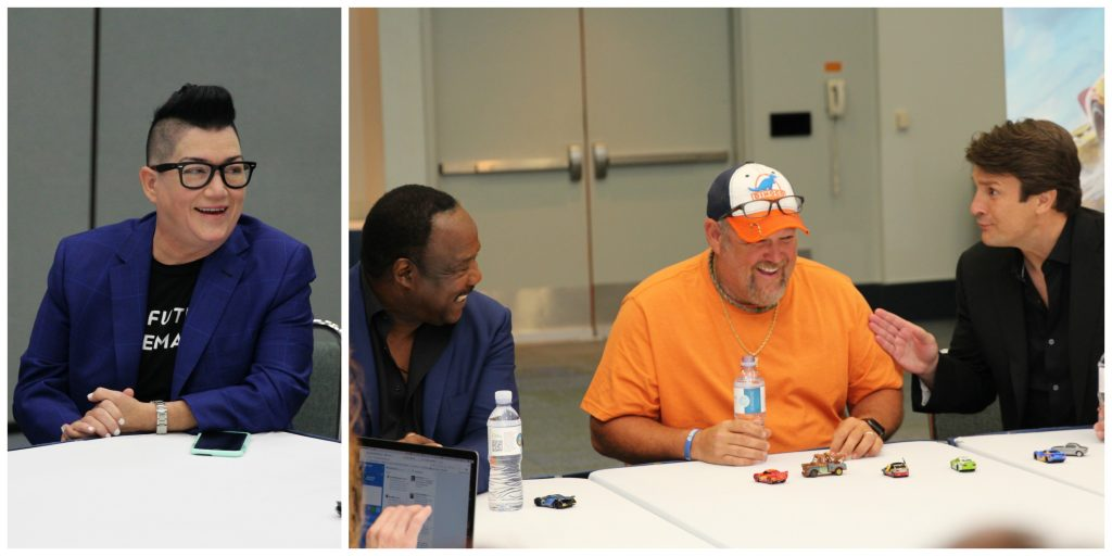 Cars 3 Interview with Larry the Cable Guy, Nathan Fillion, Lea DeLaria & Isiah Whitlock Jr. Collage