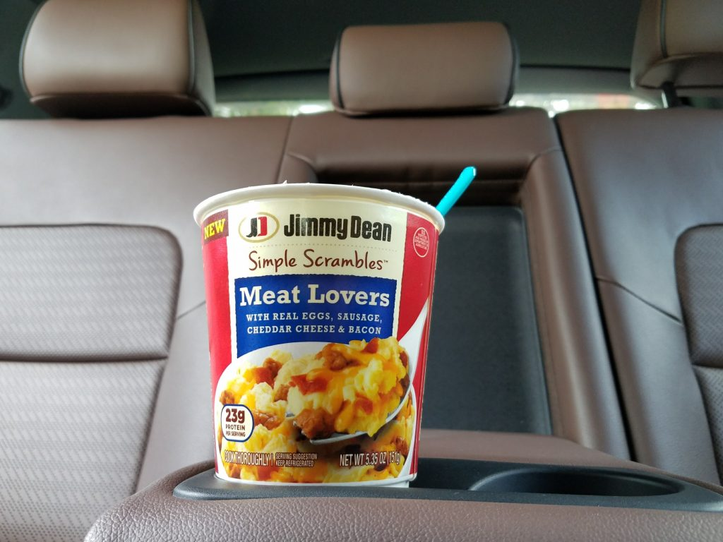 Jimmy Dean Simple Scrambles in the car