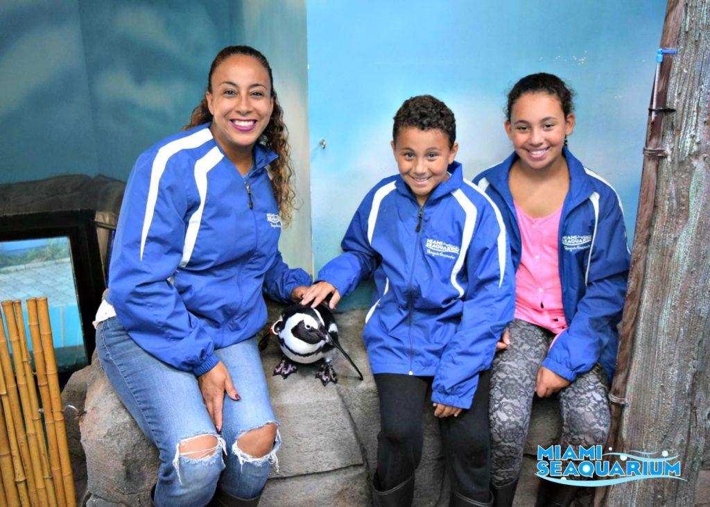 Fernandez Family with penguins at Miami Seaquarium