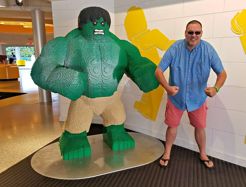 Hubby at The Lego Store at Disney Springs R