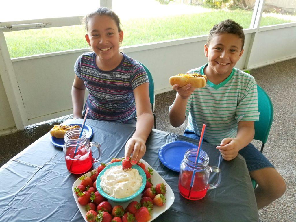 Kids enjoying Easy Labor Day Recipes
