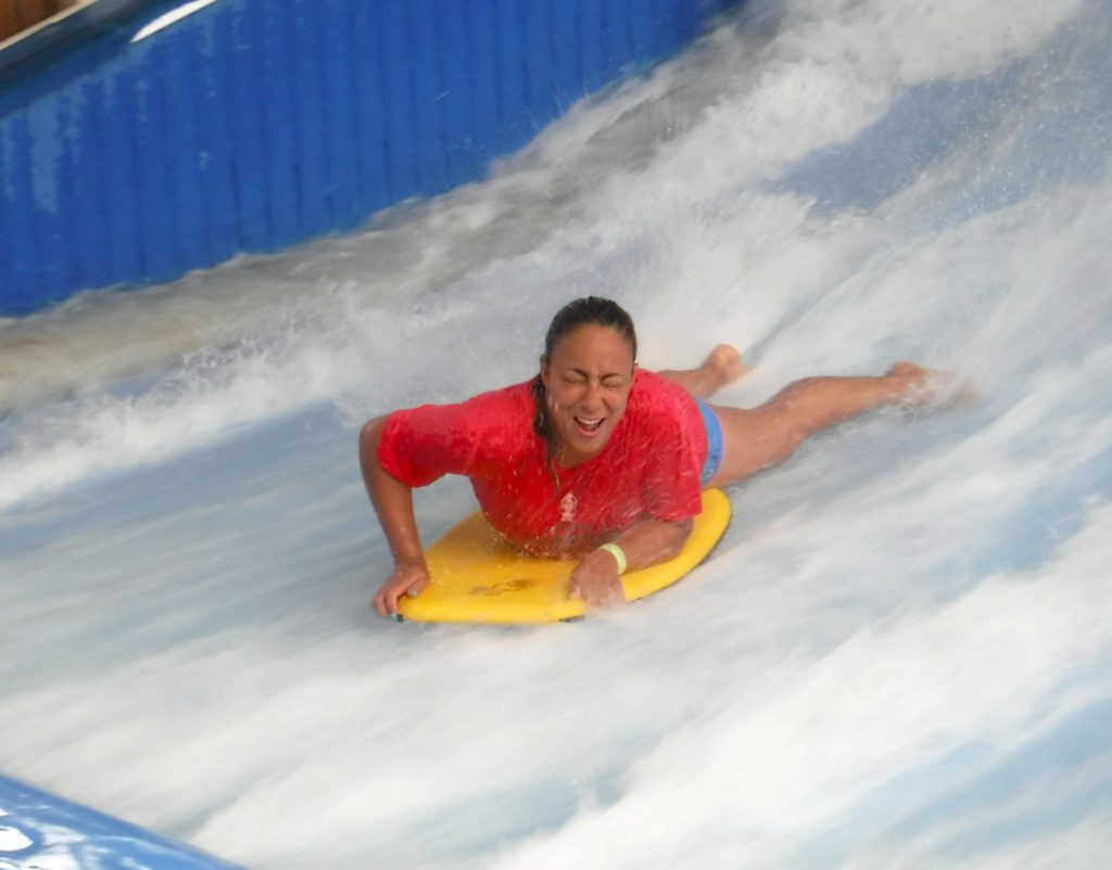Leanette on Massanutten Resort Waterpark Flow Rider R