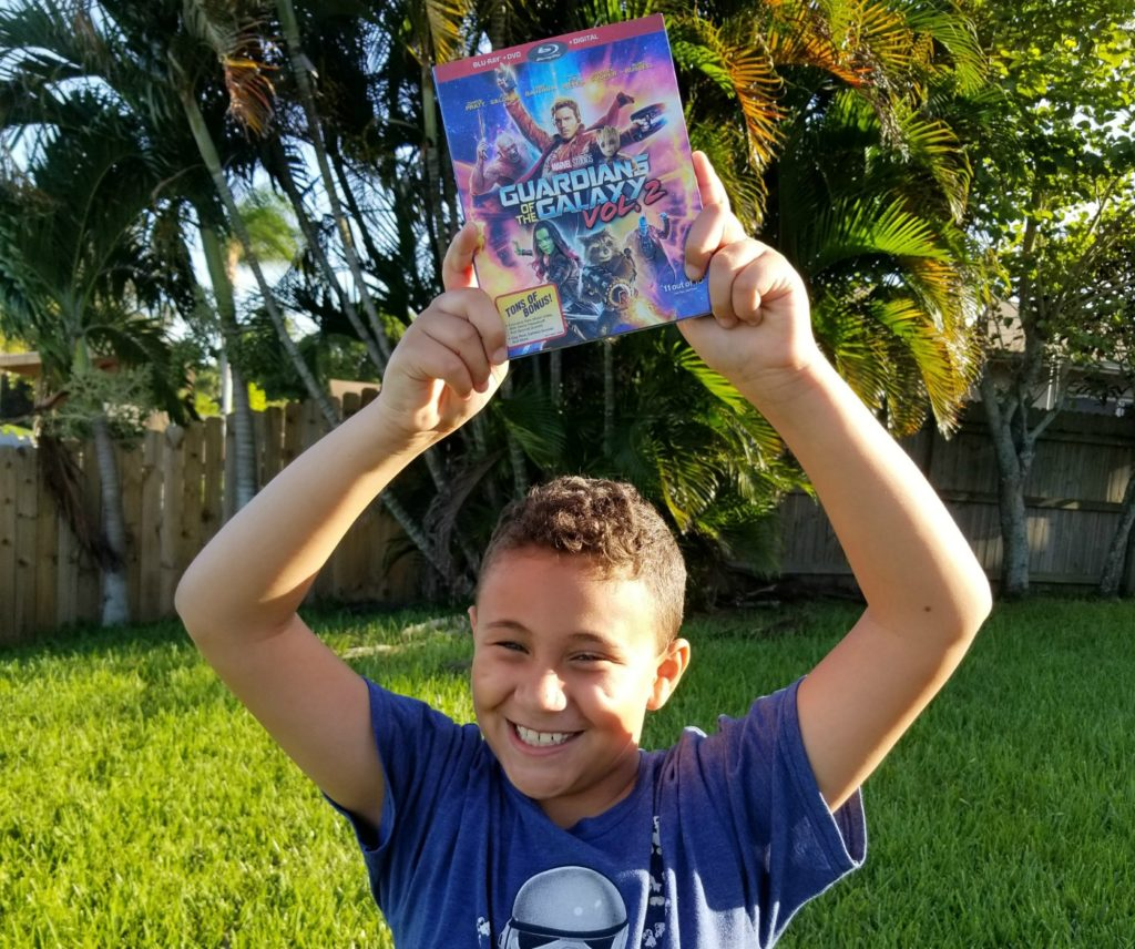 Son with Guardians Of The Galaxy Vol. 2 Blu-Ray
