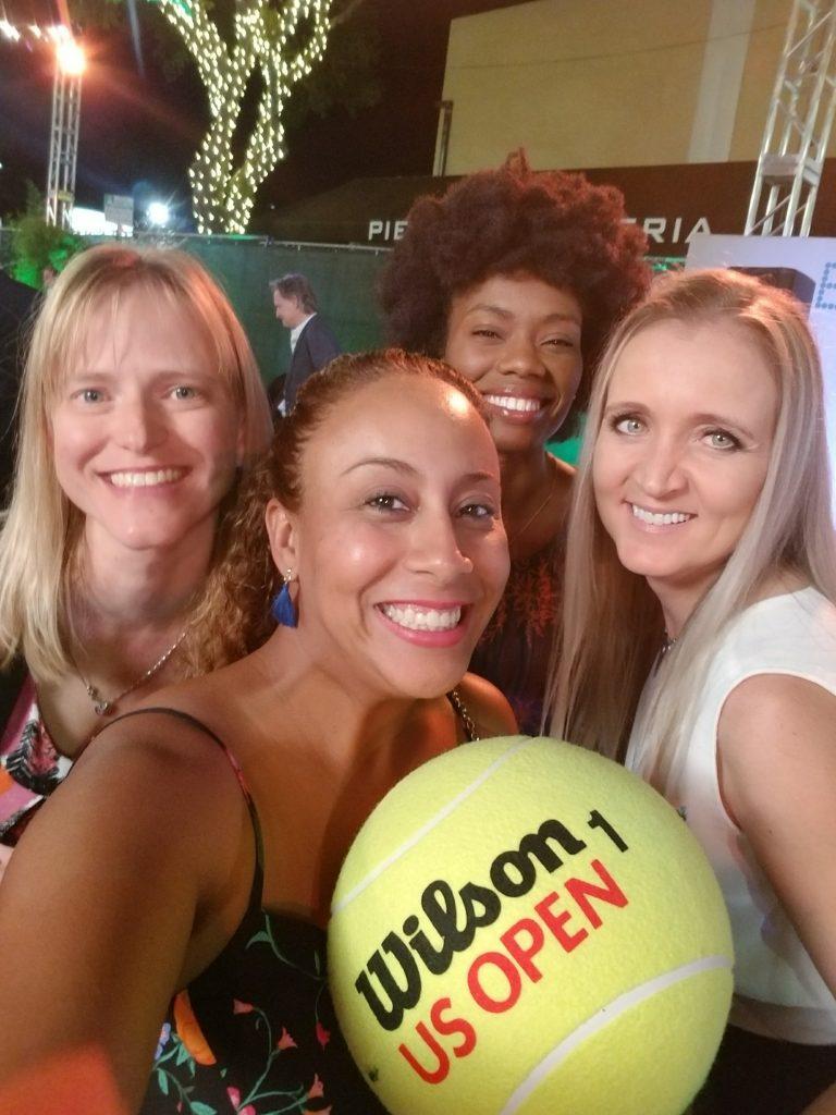 Leanette Fernandez and giant tennis ball
