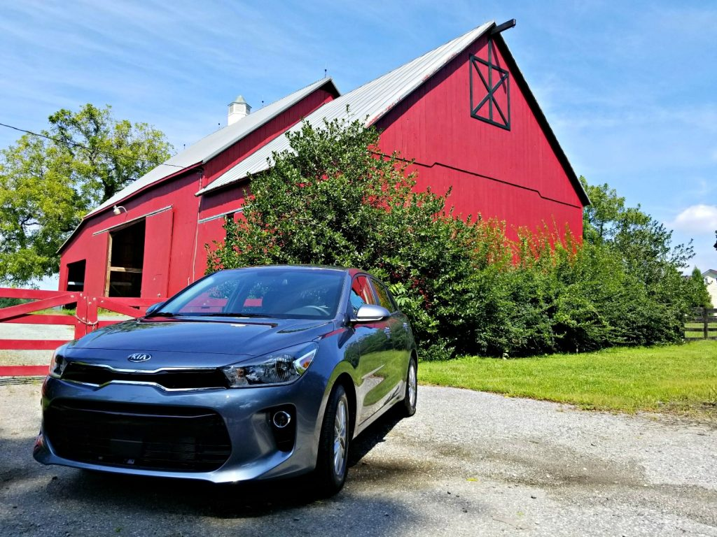 2018 Kia Rio in front of a barn R